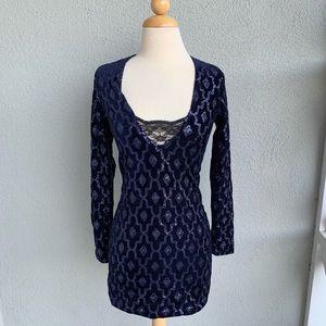 Sequin Dark Blue Bodycon Dress Size  XS
